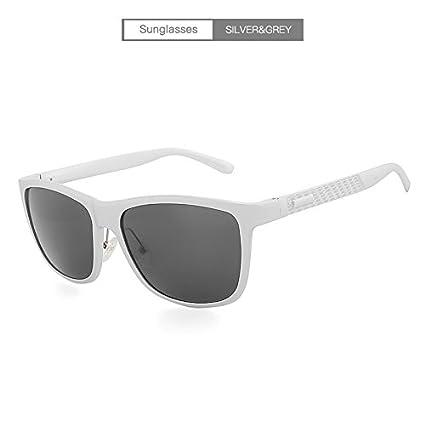 HUBINGRONG Gafas de Sol cuadradas para Hombres Polarizadas Diseñador Shades Lunette Soleil Homme UV400 Aluminio Vintage