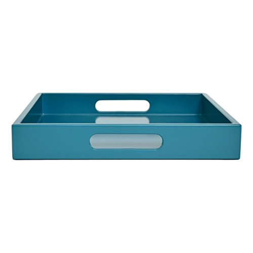 Large Ottoman Coffee Table Tray with Handles Teal Blue