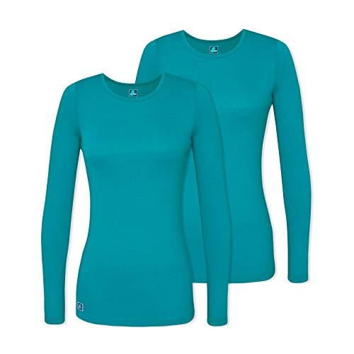 Adar 2 Pack Women's Comfort Long Sleeve T-Shirt/Underscrub Tee - 2902 - TGR - XS Teal Green