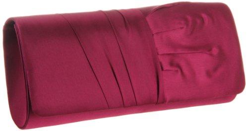 La Regale Pleated Satin 24114 Clutch,Plum,One Size, Bags Central