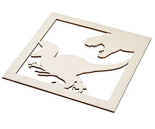 2-Piece Wooden Velociraptor Decor - Unfinished Wood Dinosaur Cutout, T-Rex Wall Art for DIY, Home, Boys Room, Birthday Party, 11.625 x 11.625 x 0.2 -