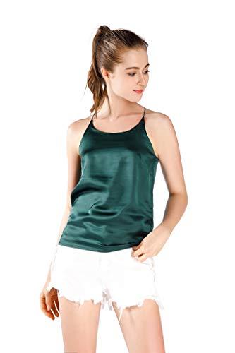 Wantschun Womens Silk Satin Camisole Cami Plain Strappy Vest Top Sleeveless Blouse Tank Shirt US Size S Green ()