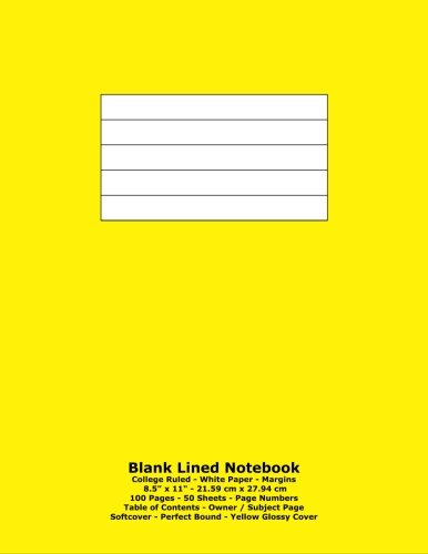 Blank Lined Notebook: College Ruled - White Paper - 8.5