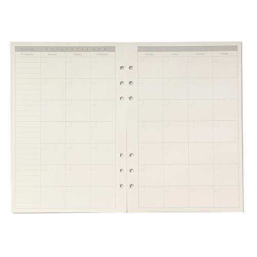 【 Harphia 】 시스템 수첩 리필 A5 6 구멍 45 장의 일정 모눈 크림 종이 / 【Harphia】System Notebook Refill A5 6-hole 45-sheet Schedule Square Cream Paper