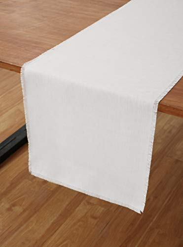 Solino Home Pure Linen Fringe Table Runner - 14 x 72 Inch, 100% Natural Fabric, Handcrafted - White
