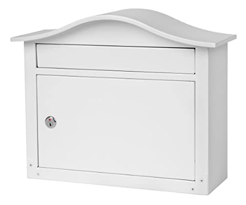 Architectural Mailboxes SARATOGA Wall-mount Metal Mailbox, WITH KEYS (Powder coated White) (Architectural Mailboxes Saratoga)
