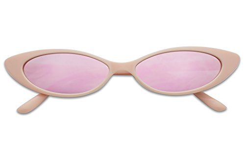 Mini Vintage Retro Extra Narrow Oval Round Skinny Cat Eye Sun Glasses Clout Goggles (Pink Frame | Pink Mirrored) -