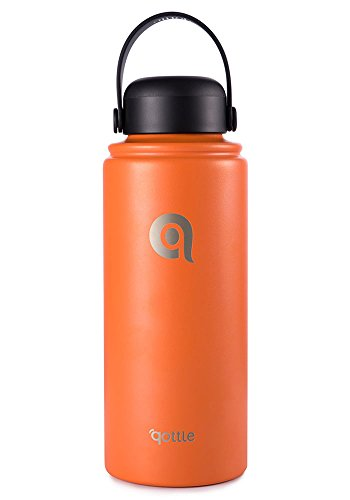 32 oz qottle Water Bottle - Double Wall Vacuum Insulated Stainless Steel for Hot and Cold Leak Proof Flask with Wide Flex Cap-Orange