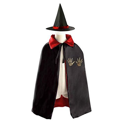69PF-1 Halloween Cape Matching Witch Hat My Hands Wizard Cloak Masquerade Cosplay Custume Robe Kids/Boy/Girl Gift -