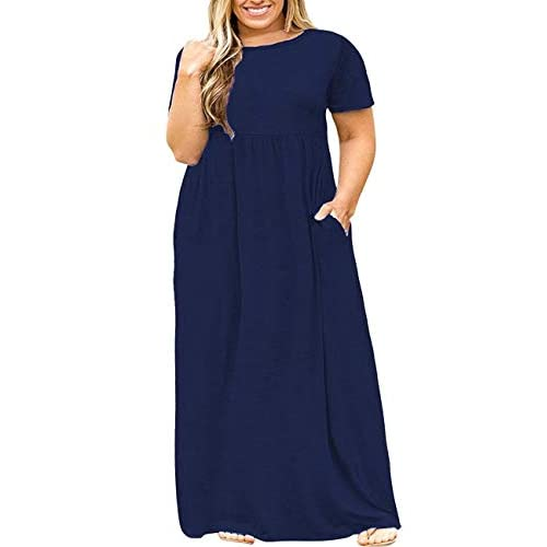 Kancystore Women Short Sleeve Plus Size Long Maxi Dress with Pockets Loose Casual T-Shirt Dress