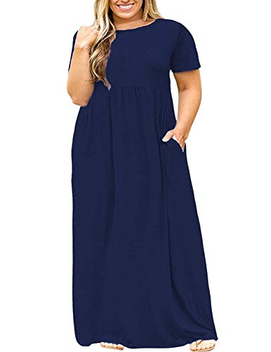 Kancystore Women's Casual Loose Swing Basic T-Shirt Short Sleeve Dresses 5X Navy Blue