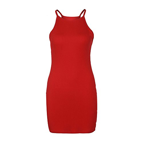 Femmes Chanyuhui Tops Tunique Robes Sur Le Club Moulante Fronde Vente Dame Solide Manches Soirée Mini Robe Rouge