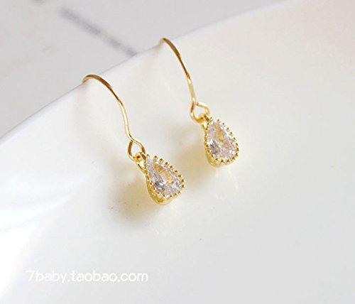 TKHNE Custom mini oval drop earrings zircon earrings 14K gold-ear hook 14k Zircon Earrings