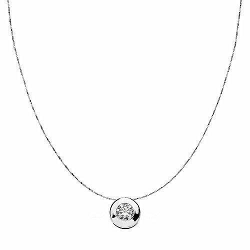 Pendentif 18k blanc 8.5mm or chaîne de lunette. zircone [AA1827]