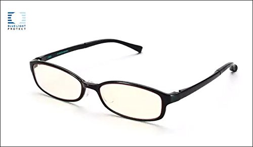JINS PC Glasses Computer Eyewear Black (Light Brown Lenses, Cuts blue Light by ()