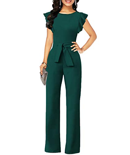 Chic-Lover Women's Elegant Ruffled Sleeve High Waisted Wide Leg Jumpsuits Romper with Belt Jasper L
