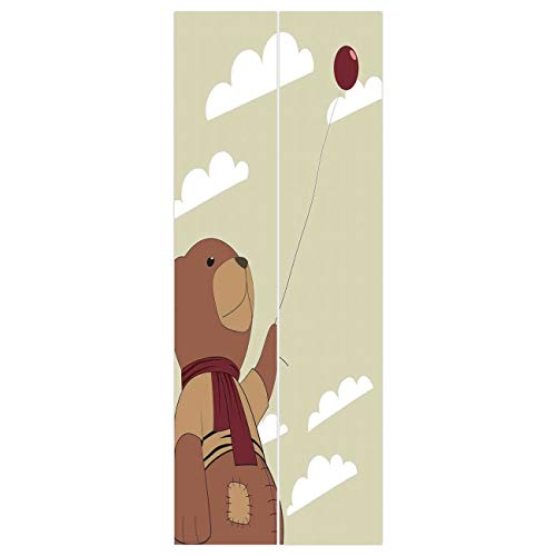 VAMIX Wallpaper Stickers [ Cartoon,A Melancholic Teddy Bear with Scarf Holding a Balloon Clouds in The Sky Clipart,Beige Cinnamon ] Mural Door Wall Stickers Wallpaper Mural DIY Home -