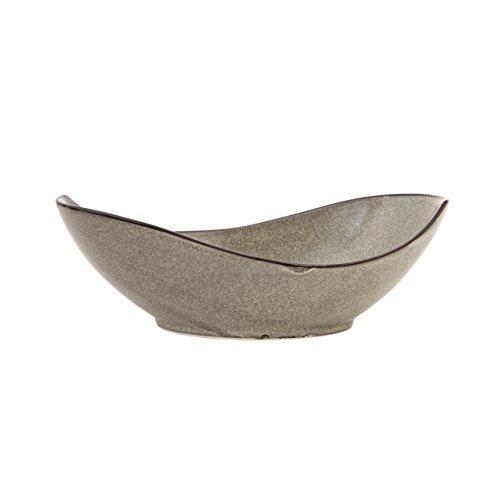 D&V 3 Piece Stōn Porcelain Dinnerware Oval Serving Bowl, 12.25