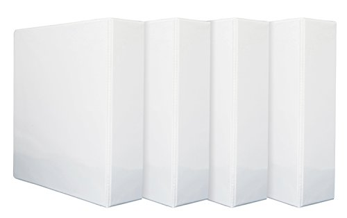 4 Pack 3'' 3-Ring Binders, Rugged Design for home, office, and school, holds up to 625 sheets of 8.5'' x 11'' paper, White, 4 Binders (White Letter 3')