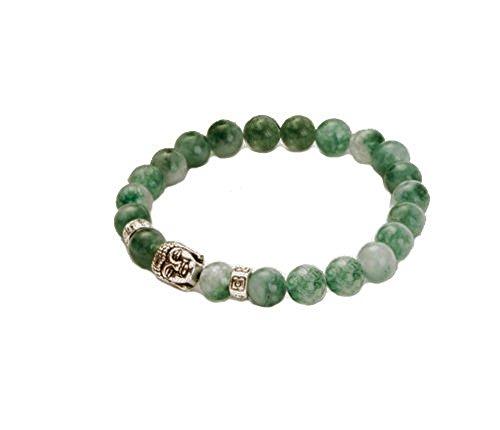 Secret for Longevity Dark Green Chinese Jade Jadeite Buddha Zen Buddhist Prayer 8mm Beads Mens Womens Stretch Good Luck Yoga Bracelet