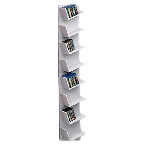 Wood Corner Floating Bookshelf, 8-Tier CD Shelf DVD Display Storage Organizer Rack for CDs, Movies & Books-Gray (US STOCK) (Shelf Floating Triangle Corner)