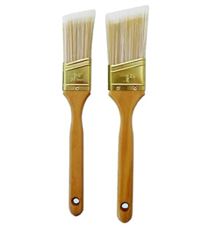 Polyester Blend Paint Brush - 2pc- Paint Brush Set Deluxe Gold/White Polyester Wood Handles - 1-1/2