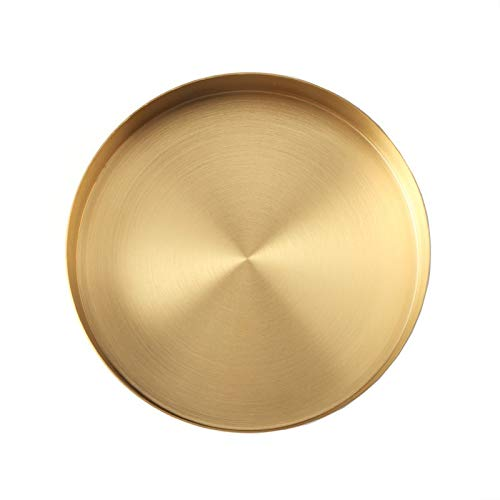 Wekee Round Gold Tray Stainless Steel Jewelry, Make up, Candle Plate Decorative Tray (7 inches) (Candle Tray Round)