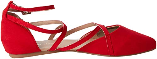 Jirly 60 Femme Rouge New À Ballerines Foot Look Bride bright Cheville Red Wide tFqRF78