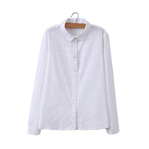 電気損なうビジョンレディース長袖オフィス切り替え開襟白シャツおしゃれカジュアルブラウス