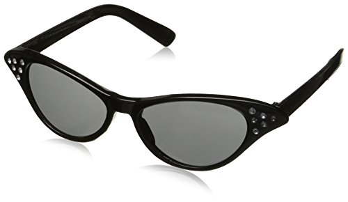 1950's Greaser Costume (Fabulous '50s Costume Party Cat Eyes Glasses, Black, Plastic, 1-Piece)