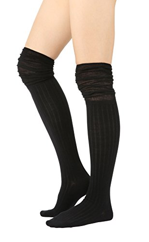 STYLEGAGA Fall Winter Slouch Top Over The Knee High Knit Boot Socks (One Size : XS to M, Slouch Top_Rib Black) ()