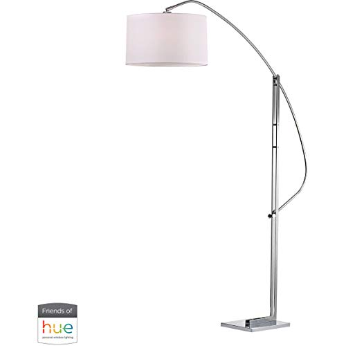 Dimond Lighting Assissi Adjustable Floor Lamp in Polished Nickel - with Philips Hue LED Bulb/Bridge (Adjustable Nickel Floor Lamp Polished Metal)
