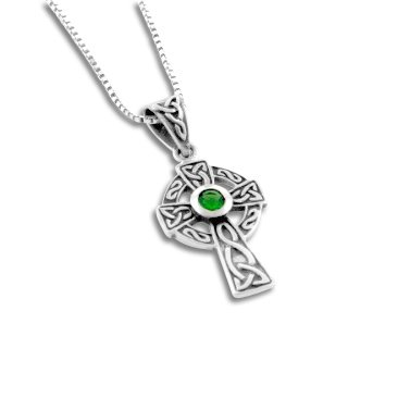 Small Celtic Knot Sun Cross with Emerald-Green Glass Pendant and 18
