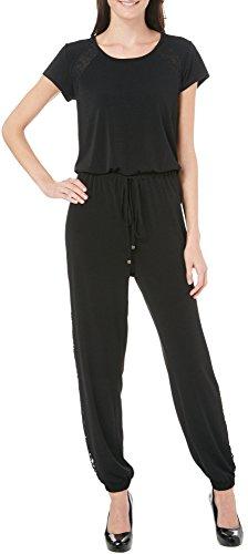 NY Collection Petite Lace Accent Jumpsuit Large Black