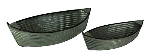 - Pair of Galvanized Zinc Finish Rowboat Decorative Planters