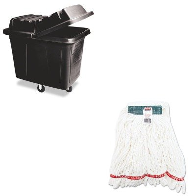 KITRCP461200BLARCPA21206WHI - Value Kit - Black Laundry amp; Waste Collection Cube Truck, 400lb (RCP461200BLA) and Rubbermaid Web Foot Shrinkless Looped-End Wet Mop Head (Wet Cube Collection)