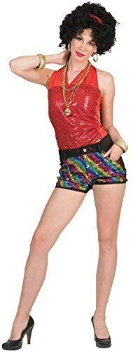 Ladies 60s 70s 80s Rainbow Sequin Disco Diva Shorts Carnival Pride Mardi-Gras Fancy Dress Costume Outfit UK 10-14 -