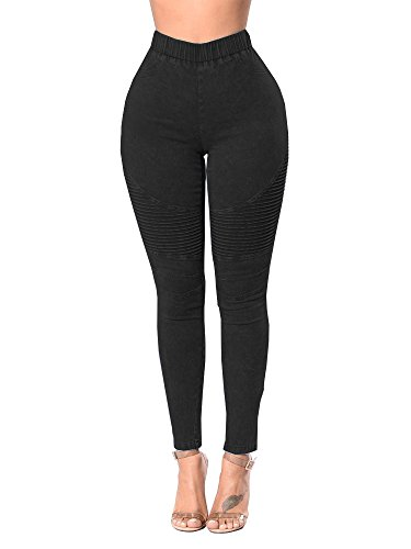 Xudom Womens High Waisted Elastic Waistband Jeggings Jeans Stretch Pull On Denim Butt Lift