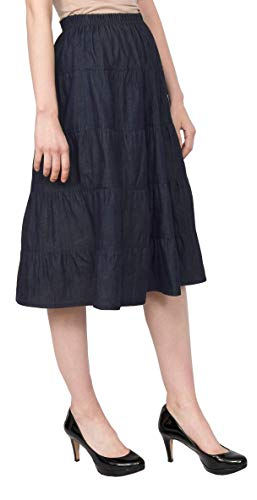 Baby'O Women's Below The Knee Length 5 Tiered Denim Prairie Skirt, BLU, XL