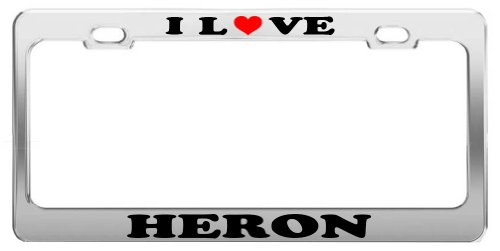I LOVE HERON License Plate Frame Car Truck Accessory Tag Holder -  Grand General Accessories Manufacturing, I LOVE 1077