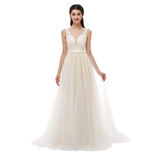 Leyidress Women's V-Neck A-Line Ivory Lace Tulle Beach Wedding Dress Plus Size Bridal Gown US 10