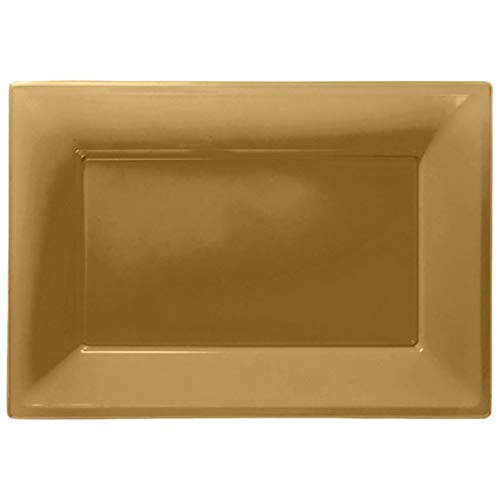 (MA ONLINE Pack of 3 Plastic Serving Platters Trays 23cm x 32cm Buffet Party Tableware Gold)