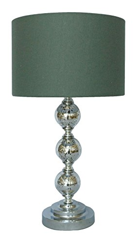 nu steel Crackle Glass Table Lamp w/Shade 12in Base Mercury Silver/Gry, 12