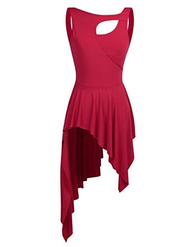 iiniim Lyrical Dance Costume Women High Low Dance Dress Crew Neck Leotard Short Dress Red X-Small ()