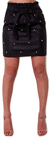 Momo&Ayat Fashion Ladies Bow Front Pearl Detail PU Skirt UK Size 8-14 (Black, Small (UK 8-10)) -