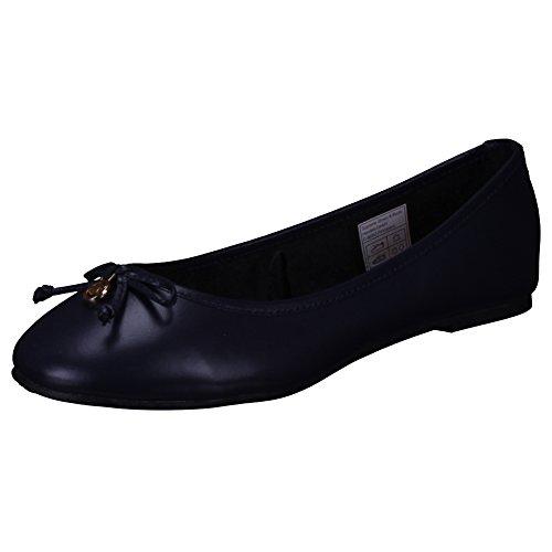 TOM TAILOR - Bailarinas de Piel Lisa para mujer azul marino