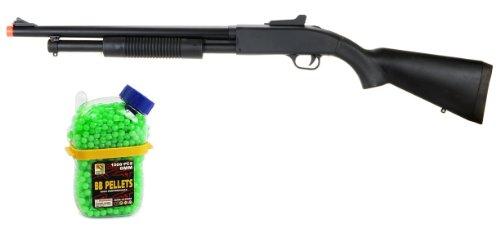 spring full stock zm61a fps-390 tactical shotgun airsoft gun + 1000 bottle feeder high quality airsoft bb's(Airsoft Gun) by AirSoft