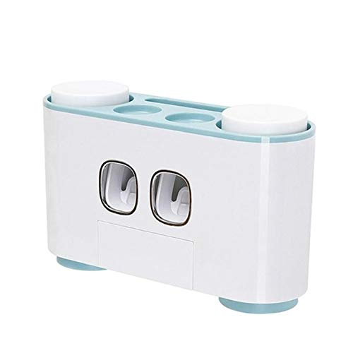 Kittmist Automatic Toothpaste Dispenser Dust-Proof Toothbrush No Holder Nail with Hand Free Cups Organizer Stand Shelf Wall Bathroom