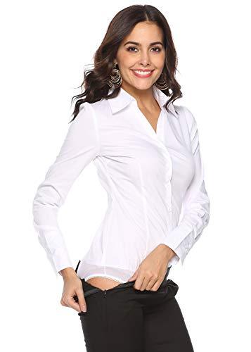 - Soojun Women's Long Sleeve Easy Care Work Bodysuit Shirt, Size US 8, Style 4 (White)
