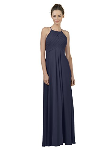 Alicepub Long Chiffon Bridesmaid Dress Maxi Evening Gown A Line Plus Party Dress, Dark Navy, US14